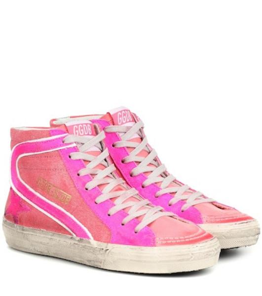 Golden Goose Deluxe Brand Slide high top denim sneakers in pink