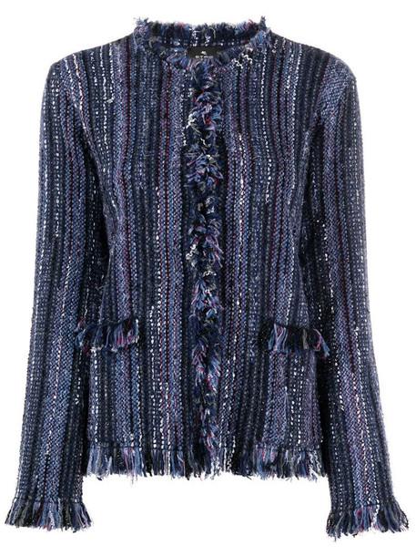 Etro fringe-detail check cardigan in blue