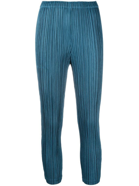 Pleats Please Issey Miyake micro-pleat trousers in blue