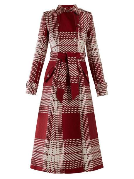 coat wool coat white wool red