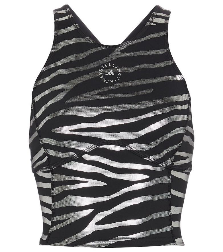 adidas by Stella McCartney Zebra-striped racerback crop top in white