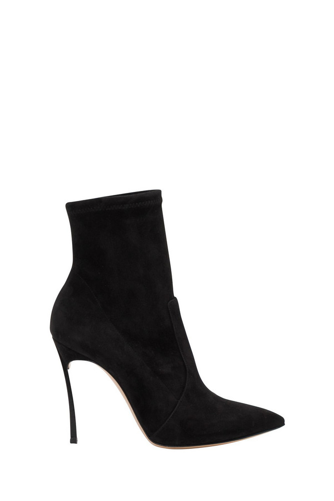 Casadei Suede Ankle Boots With Blade Heel in nero