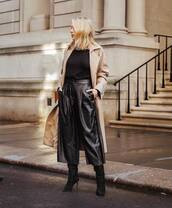 pants,black leather pants,wide-leg pants,high waisted pants,black boots,suede boots,knee high boots,black sweater,trench coat,long coat