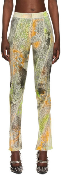 Rave Review SSENSE Exclusive Off-White & Multicolor Lace Spray Paint Trousers in orange