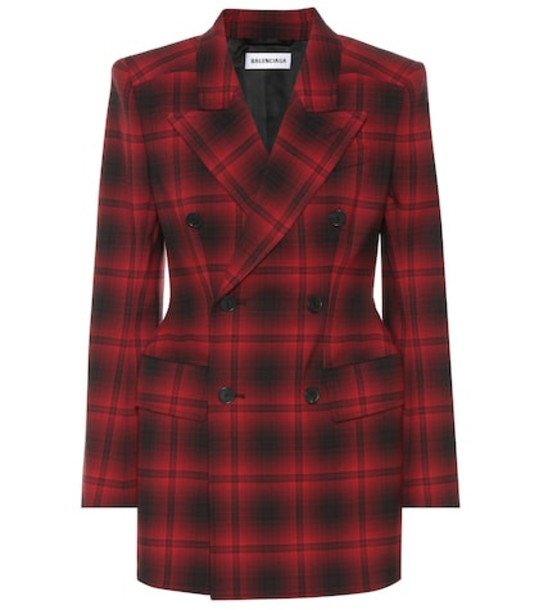Balenciaga Hourglass checked blazer in red