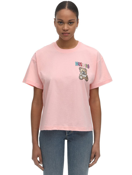 MOSCHINO Over Crop Jersey T-shirt W/embellishment in pink