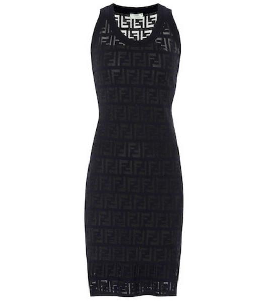 Fendi Cotton-blend jacquard minidress in black