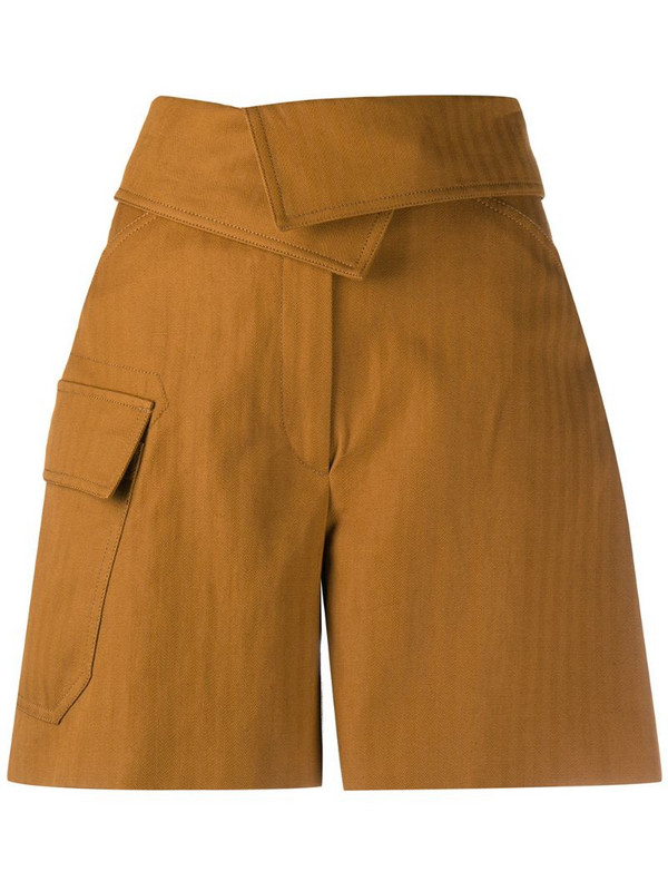 Kenzo wrap-front cotton shorts in brown