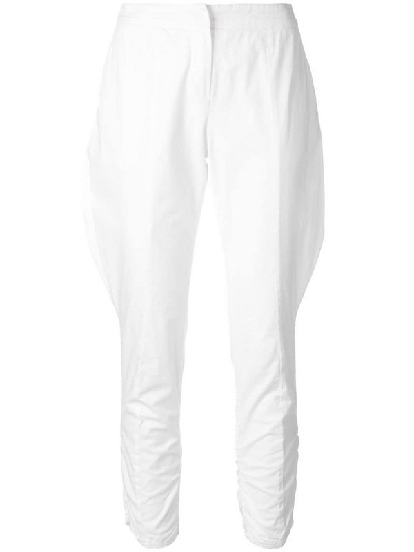 Giorgio Armani Pre-Owned baggy detail cropped trousers in white