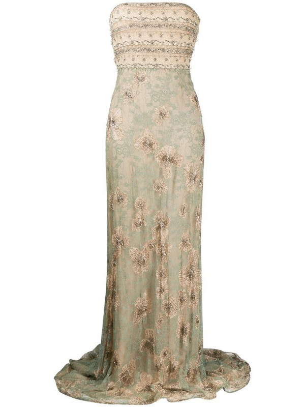 Valentino Pre-Owned 2012 floral lace evening dress in neutrals