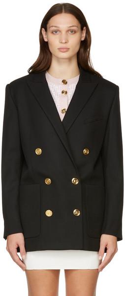 Balmain Black Twill Double Breasted Blazer in noir