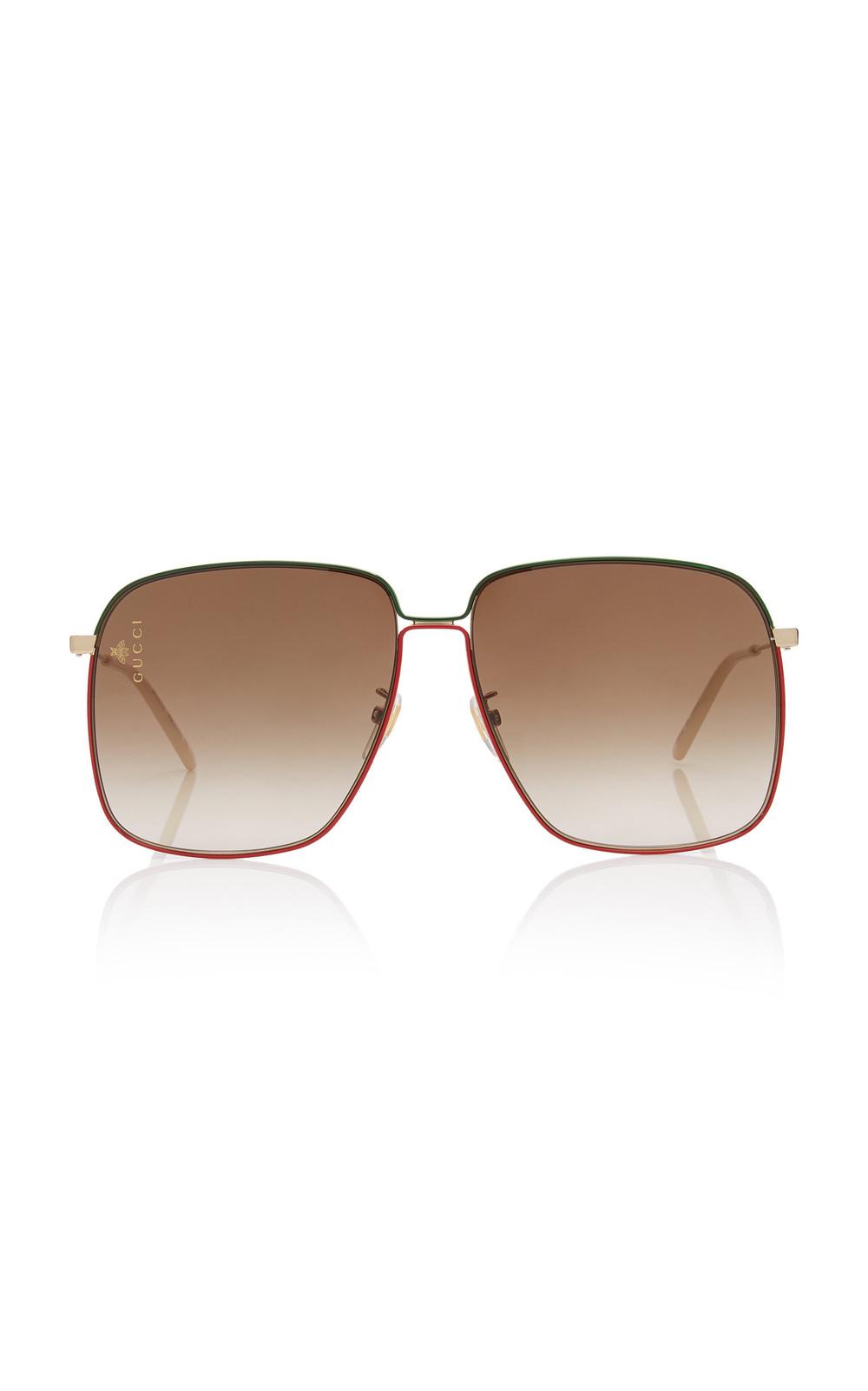 Gucci Sunglasses Glasant Oversized Metal Square-Frame Sunglasses in brown