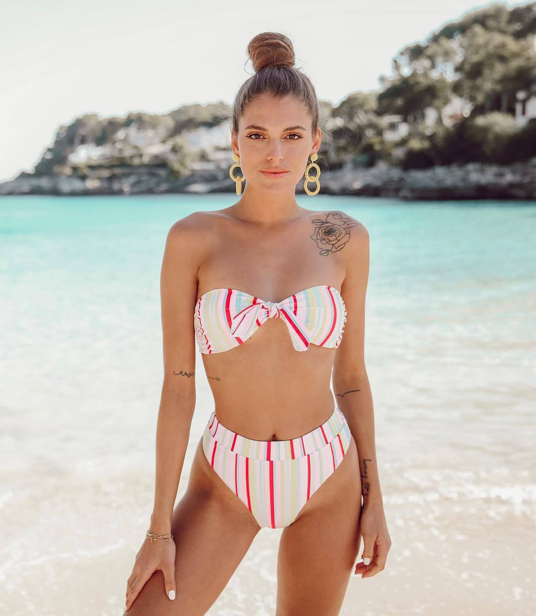 swimwear bikini top bikini bottoms stripes summer earrings