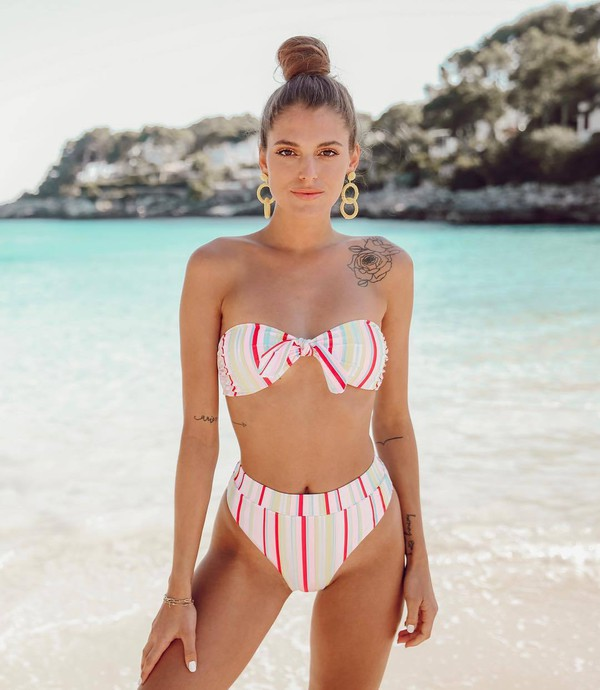 swimwear bikini top bikini bottoms stripes summer earrings