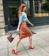bag,brown bag,orange,sandal heels,plaid skirt,midi skirt,blue sweater