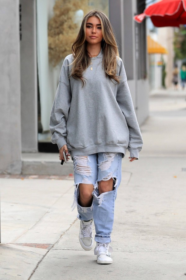 sweater casual streetstyle grey sweater madison beer ripped jeans jeans spring outfits