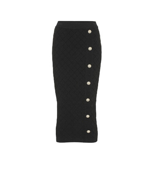 Balmain High-rise knit midi skirt in black