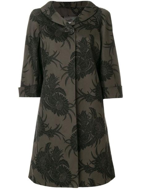 Prada Pre-Owned three-quarter sleeves floral coat in black