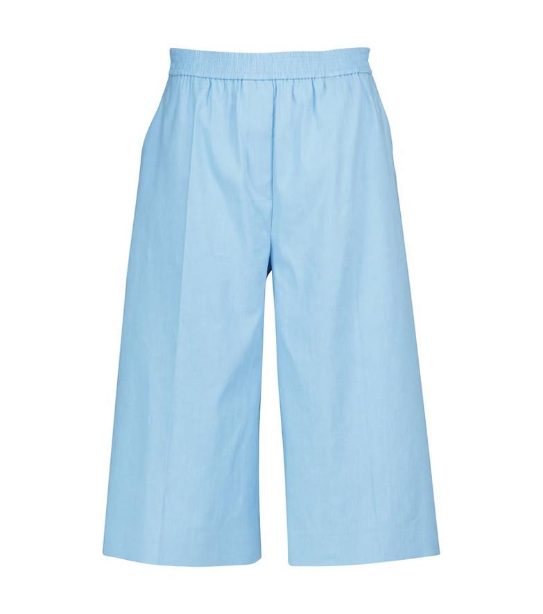 JOSEPH Tan linen and cotton Bermuda shorts in blue