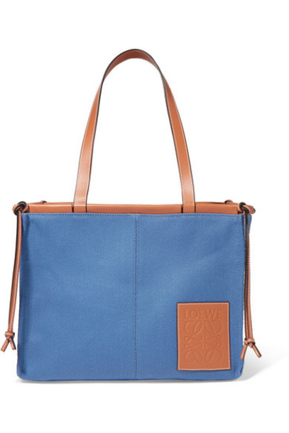 Loewe - Cushion Large Leather-trimmed Canvas Tote - Blue