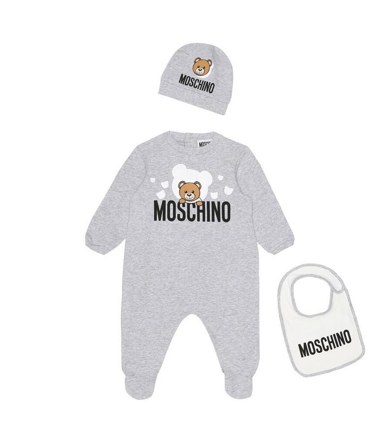 Moschino Kids Baby onesie, bib, and hat set in grey