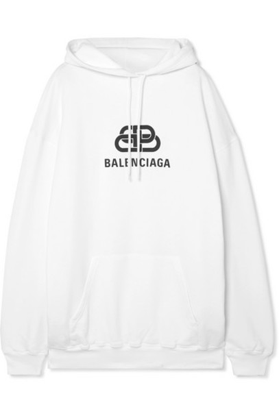 Balenciaga - Oversized Cotton-jersey Hoodie - White