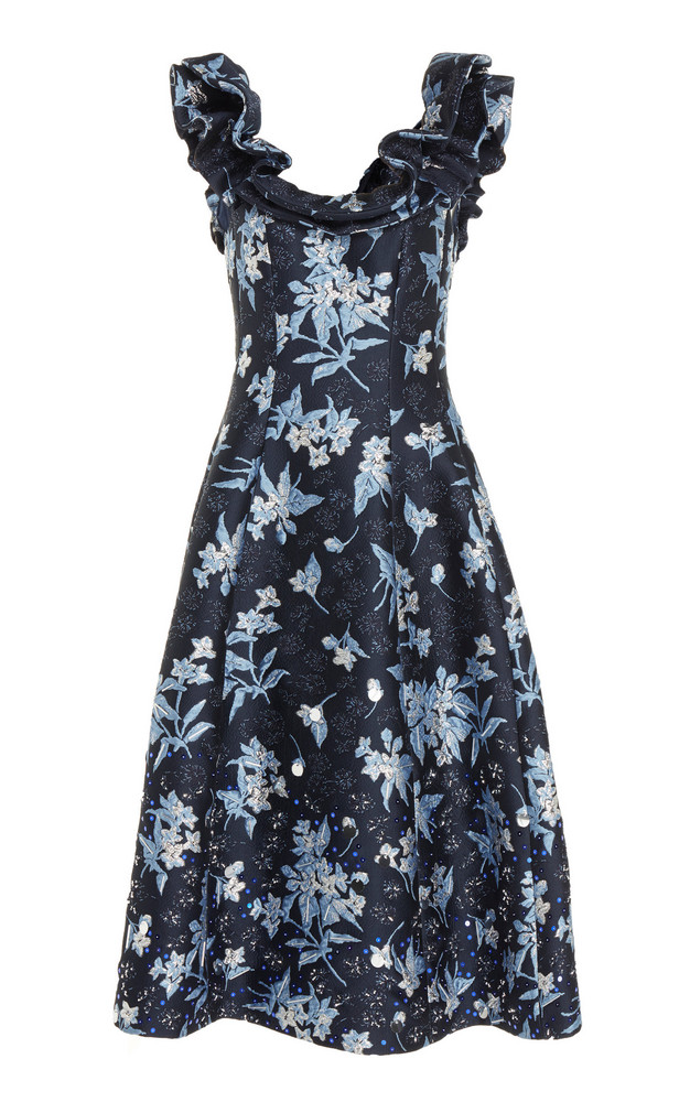 DELPOZO Floral-Printed Off-The-Shoulder Dress in navy