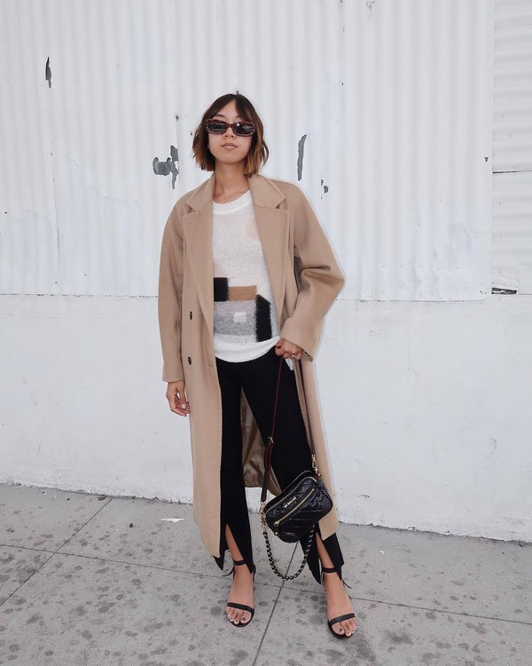 coat long coat double breasted black sandals black pants slit pants black bag sweater