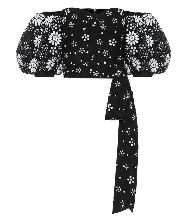 Self-Portrait Off-the-shoulder embellished top in black