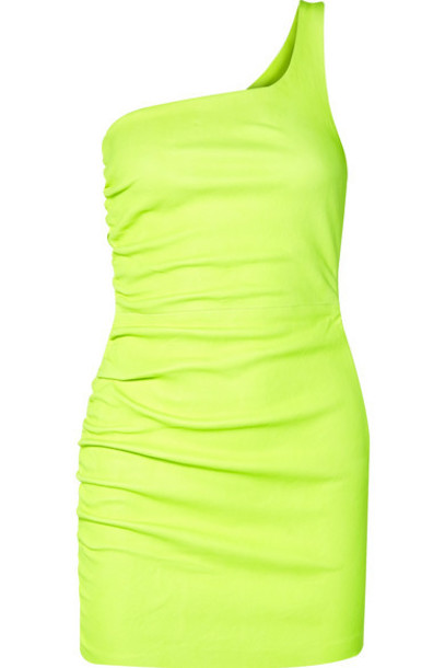 SPRWMN - One-shoulder Ruched Neon Leather Mini Dress - Yellow