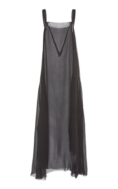 ALBUS LUMEN Manuela Sleeveless Silk-Knit Dress in black