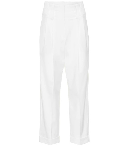 Brunello Cucinelli High-rise straight wool blend pants in white