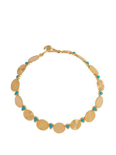 Joelle Kharrat - Moneta Turquoise Embellished Necklace - Womens - Blue