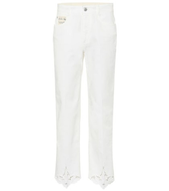 Stella McCartney Embroidered mid-rise jeans in white
