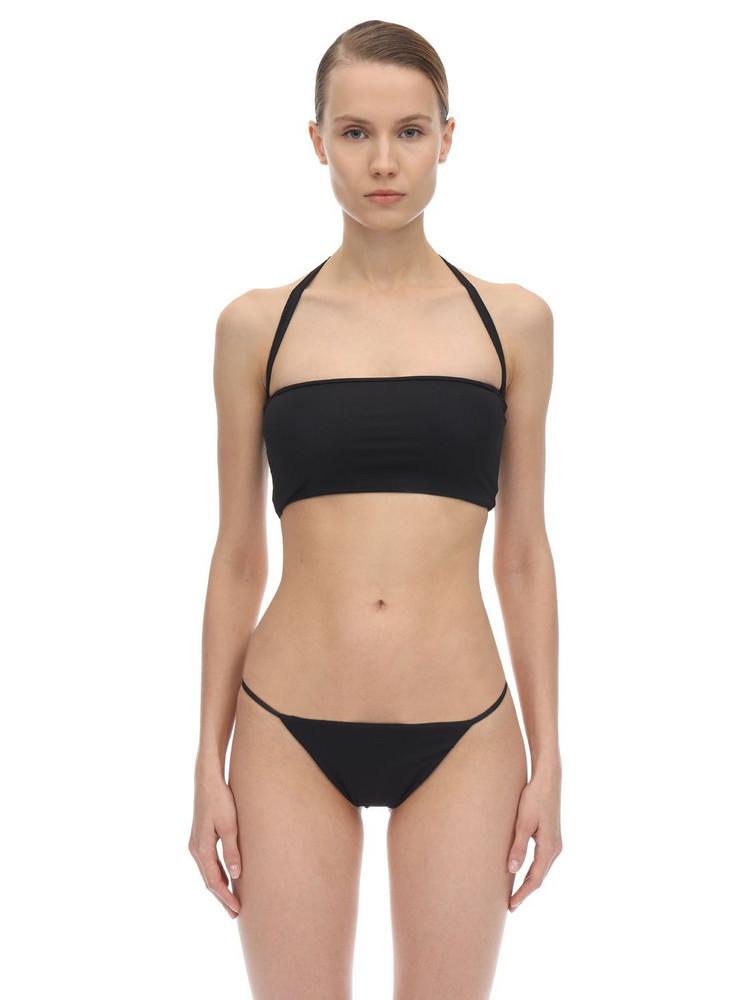AEXAE Halter Neck Lycra Bandeau Bikini Top in black