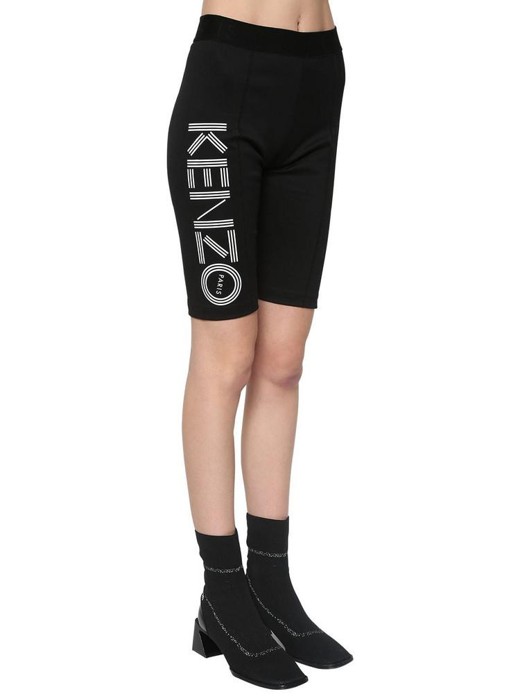 KENZO Logo Print Stretch Cotton Biker Shorts in black
