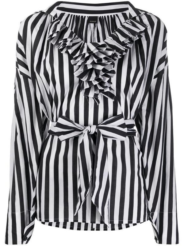 Pinko striped ruffled top in black