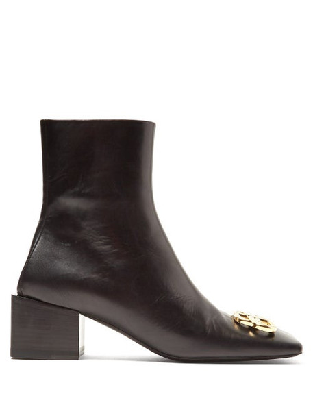 Balenciaga - Double Square Logo Embellished Leather Ankle Boots - Womens - Black