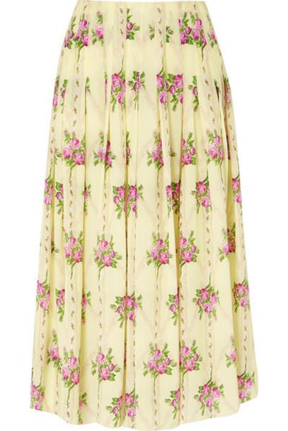 Emilia Wickstead - Pleated Floral-print Silk Crepe De Chine Midi Skirt - Yellow