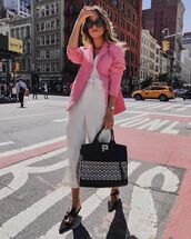 jumpsuit,white jumpsuit,sleeveless,mules,maxi bag,pink blazer