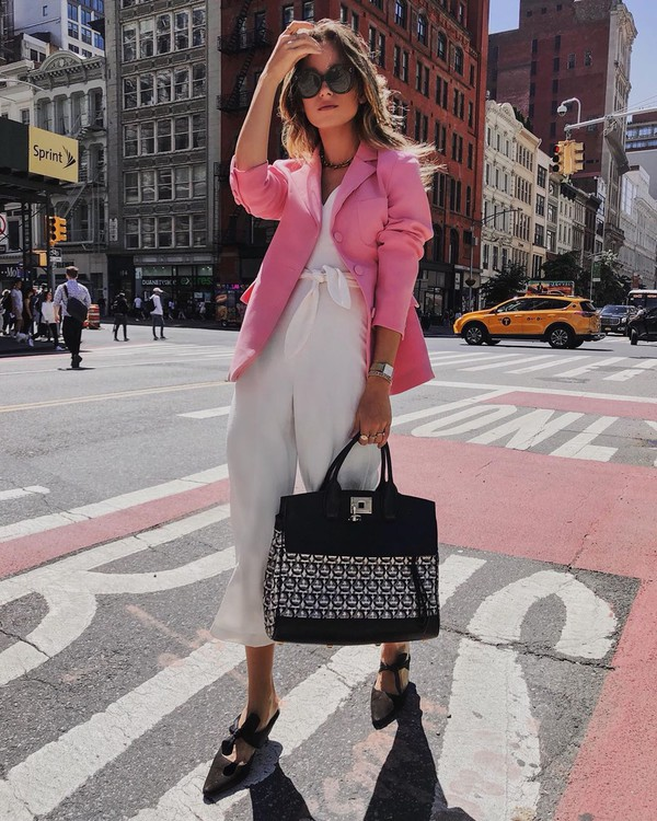 jumpsuit white jumpsuit sleeveless mules maxi bag pink blazer