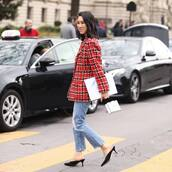 jacket,wool jacket,plaid,chanel,mules,ripped jeans
