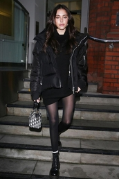jacket,puffer jacket,all black everything,sweater dress,sweater,sweatshirt,boots,madison beer