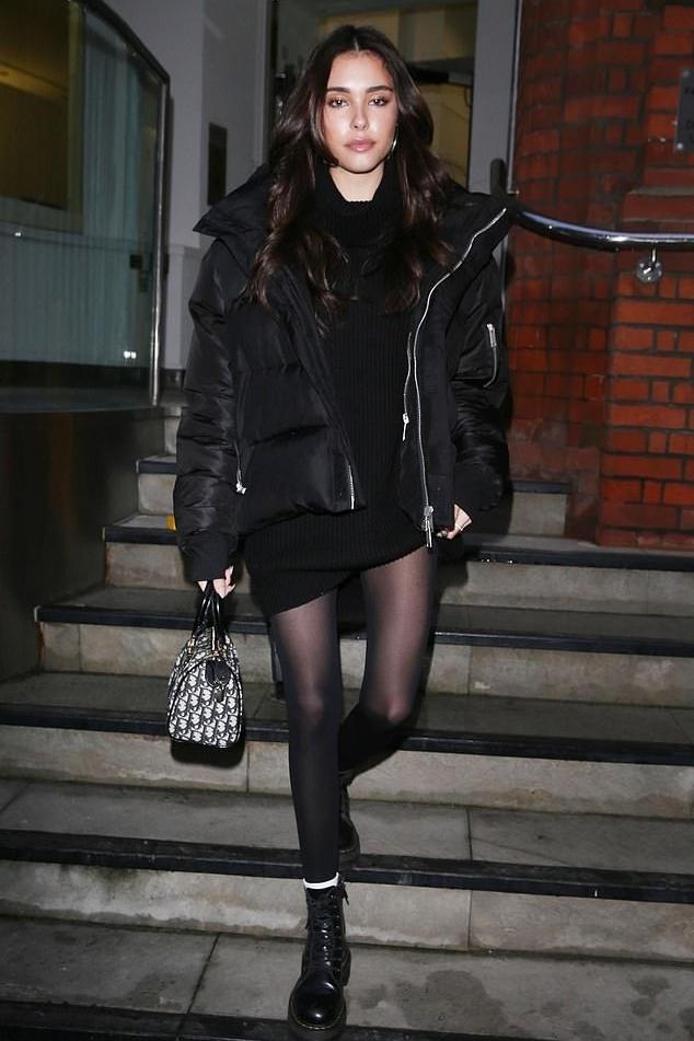 jacket puffer jacket all black everything sweater dress sweater sweatshirt boots madison beer