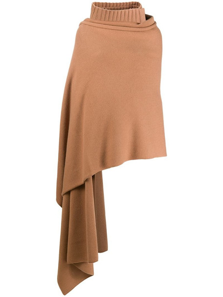 Joseph draped roll neck scarf in brown