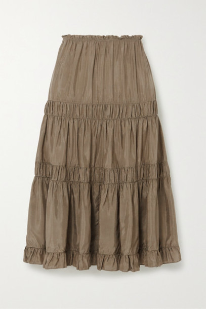 See By Chloé See By Chloé - Tiered Ruffled Habotai Skirt - Army green
