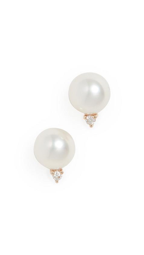 Mizuki 14k Medium Pearl & Diamond Stud Earrings in gold