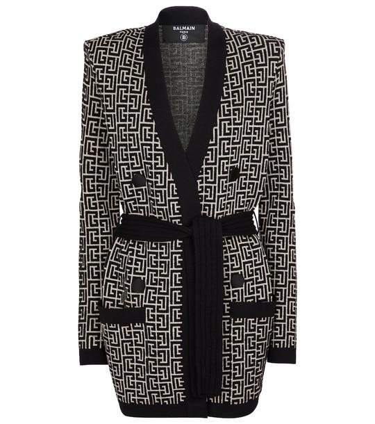 Balmain Jacquard wool-blend cardigan in black