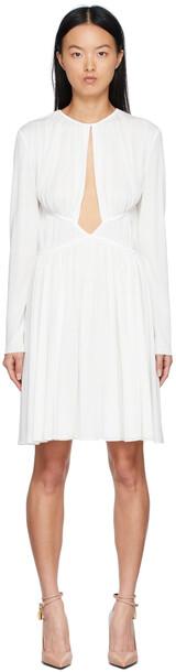 TOM FORD White Crepe Gathered Dress
