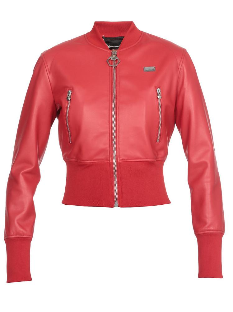 Philipp Plein Leather Jacket in red